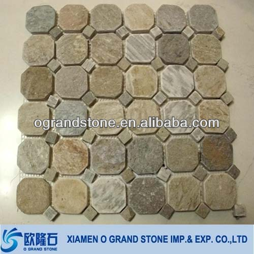 Gloden brown pebble natural paving stone mosaic