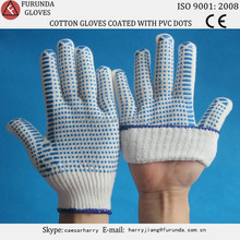 Polyester-blended knitted working gloves coated with pvc dots on palm