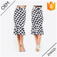 OEM hot sale polka dots mermaid women midi skirts latest skirt design pictures