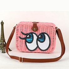2016 Hot selling lady straw bag with eyes small shoulder bag beach bag T090