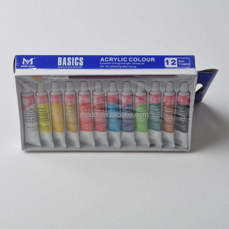 Hot sale made in china 12 colors 6ml acrylic paint set