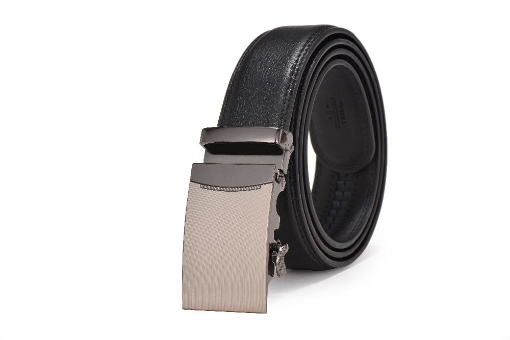 Automatic holeless genuine leather belts ratchet leather jeans black belts