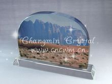 customize oval shaped crystal color printing home decoration