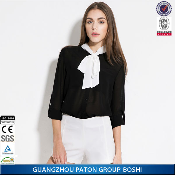 Custom fashion blouse design, European Style Chiffon Blouse for Women Custom OEM Made