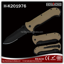 Competitive price sea shell design handle black coating folding knife