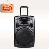 professional 15 inch powered amplifier subwoofer speaker with trolley and wheel