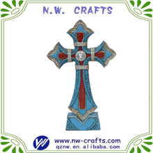 Custom religious crucifix crafts resin standing turquoise cross
