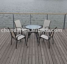 2012 new design outdoor dining tempered glass top table and texitlene chair