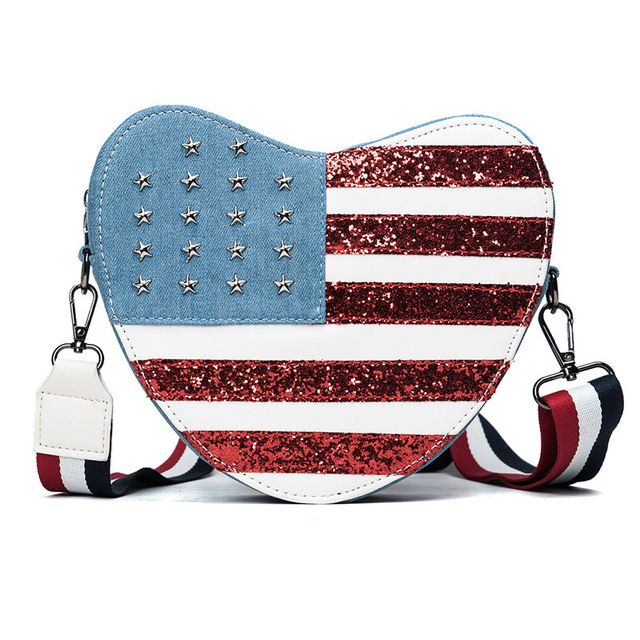 2017 New sequins rivet American wind heart single strap bag canvas handbags for ladies