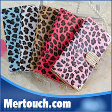 for samsung S4 S3 wallet case diamond buckle luxcy leopard grain leather case for samsung S3 i9300