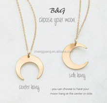 Crescent Moon Necklace, Gold &silver Moon Necklace, Tusk Moon