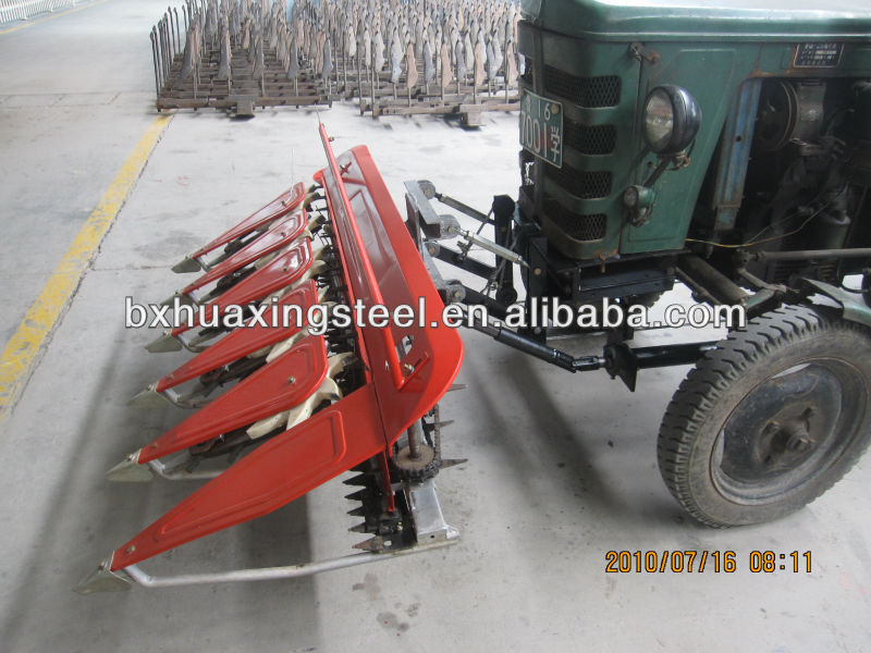 walking tractor mounted mini rice harvester