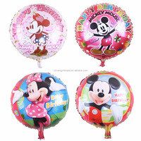 Mickey minnie cartoon character printed happy birthday 18'' round shape inflatable party decorations mickey mouse balloons