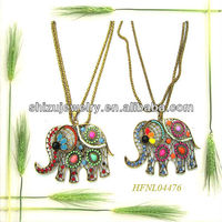 Beautiful design exquisite craftwork elephant muilt rhinestone pendant imitation jewelry