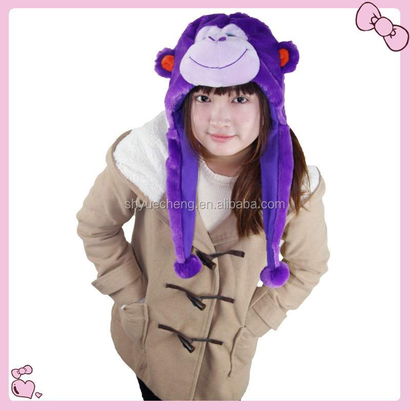 girl and animal sex hat plush animal hat with earflap
