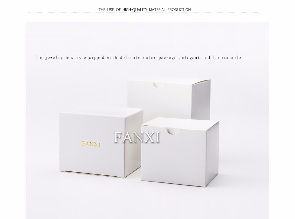 FANXI luxury champagne color plastic jewelry boxes pendant bracelet pillow holder boxes for wedding paper ring case