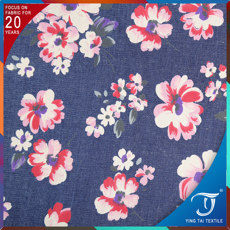Beautiful floral printing denim fabric 100% cotton rose printed jean fabric for dress women