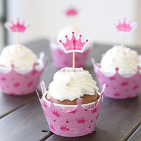 pink princess crown paper cupcake wrapper & toppers picks girl party supplies birthday decorations baby shower wedding favors