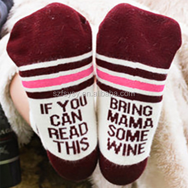 2017 Amusing And Sexy Bring Mama Some Wine Women Socks Factory Direct Selling