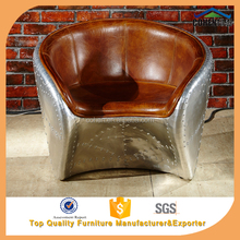 American industrial retro Vintage leather aviator arm chair with aluminium back