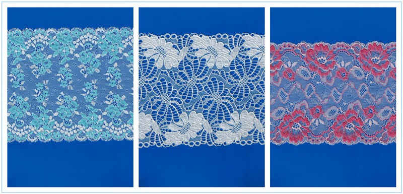 Hongtai fashionable turkish 4cm lace fabric/ beautiful flower stretch/ nylon lace trims wholesale