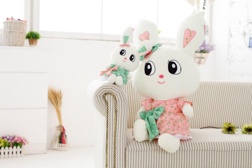 Professional Factory Cheap Wholesale low price white stuffed plush rabbit wild animal with printed pink skirt&big cartoon eyes