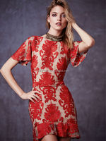 2015 New Lace Nepal Sexy Fishtail Style Retro Embroidery Fashion Short Sleeve Backless Dress MX121