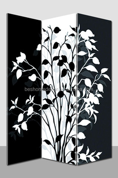 Fashion black and white light up room divider, canvas print screens