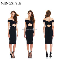 2016 midi long off shoulder ladies sexy open front dress fashion sexy girls black backless bandage dress