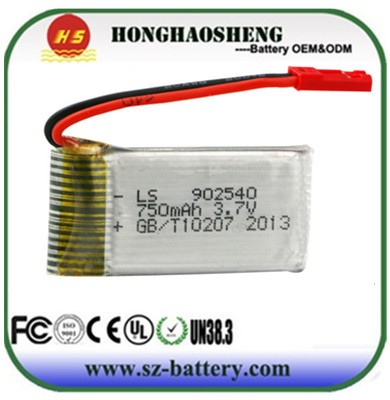 HJ-810 high discharge rate rc battery 3.7v 750mah rechargebale lipo drone battery 902540