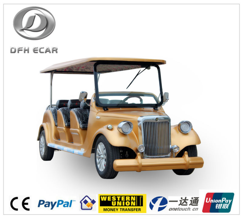 CE approved 8 seats electric classic vehicle golden