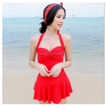 Womens summer swimwear 2015 push-up top and bikini, Drop-wait knit dress bathing suit , beach sexy swim suit