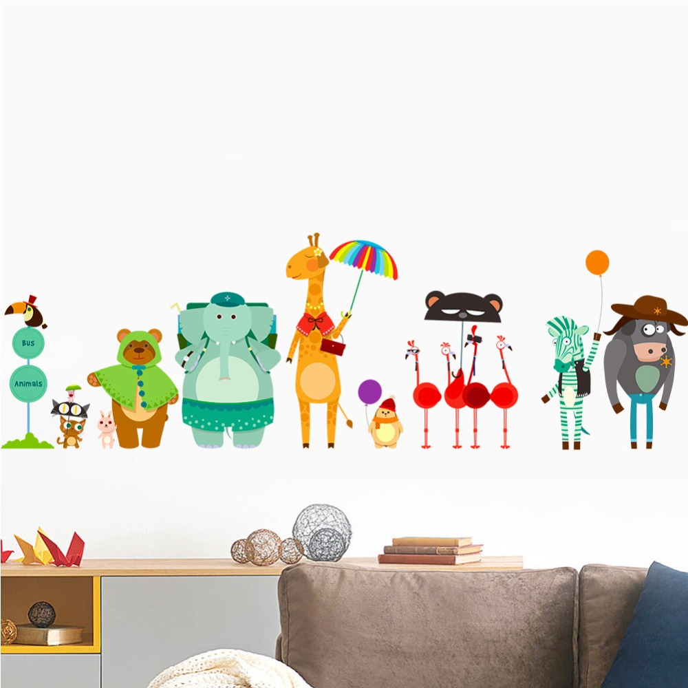 Zooyoo New Design cartoon animal wall sticker for Home <strong>Decor</strong>(ZY1323A)
