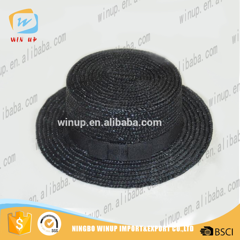 wholesale lady custom bucket straw hat flat top paper fedora hat