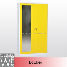 Home bedroom use yellow comfortable steel cabinet clothes locker