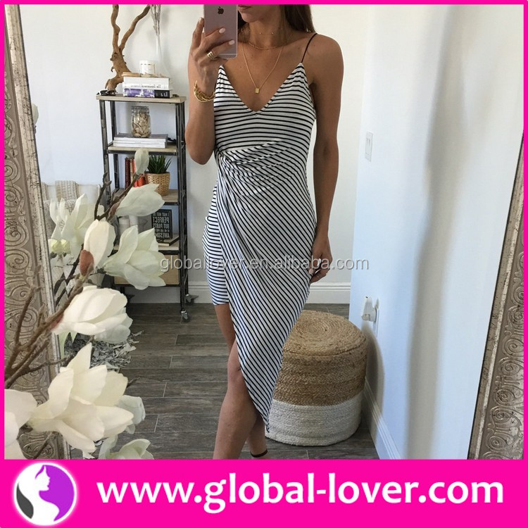 Wholesale unique design women striped summer sexy sundresses for 2016