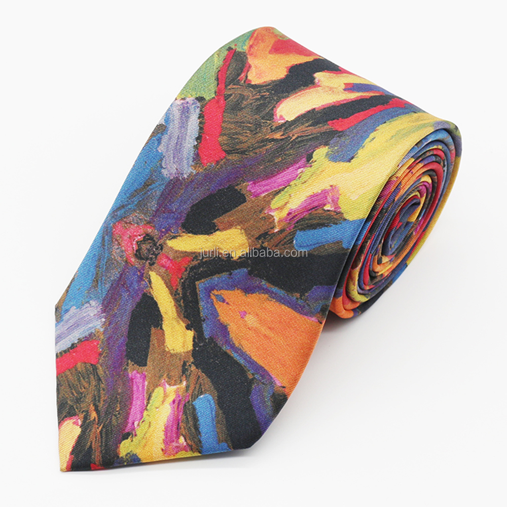 ladies fashion print silk fabric custom brand necktie