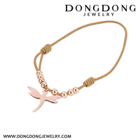 B016 cheap price rose gold plated dragonfly shape stainless steel fashion jewelry charm bracelet
