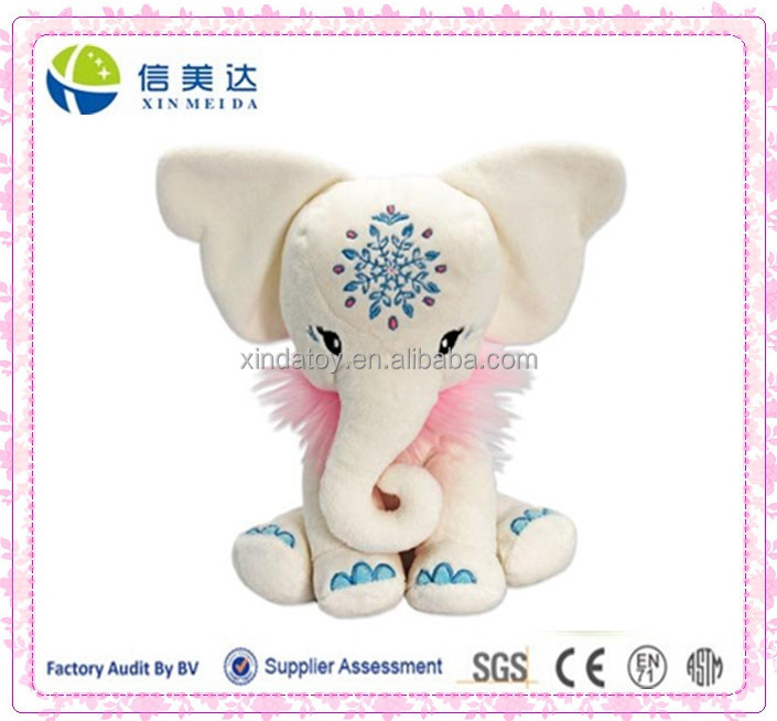 Plush Exotic Cuddly White Elephant Stuffed Toy