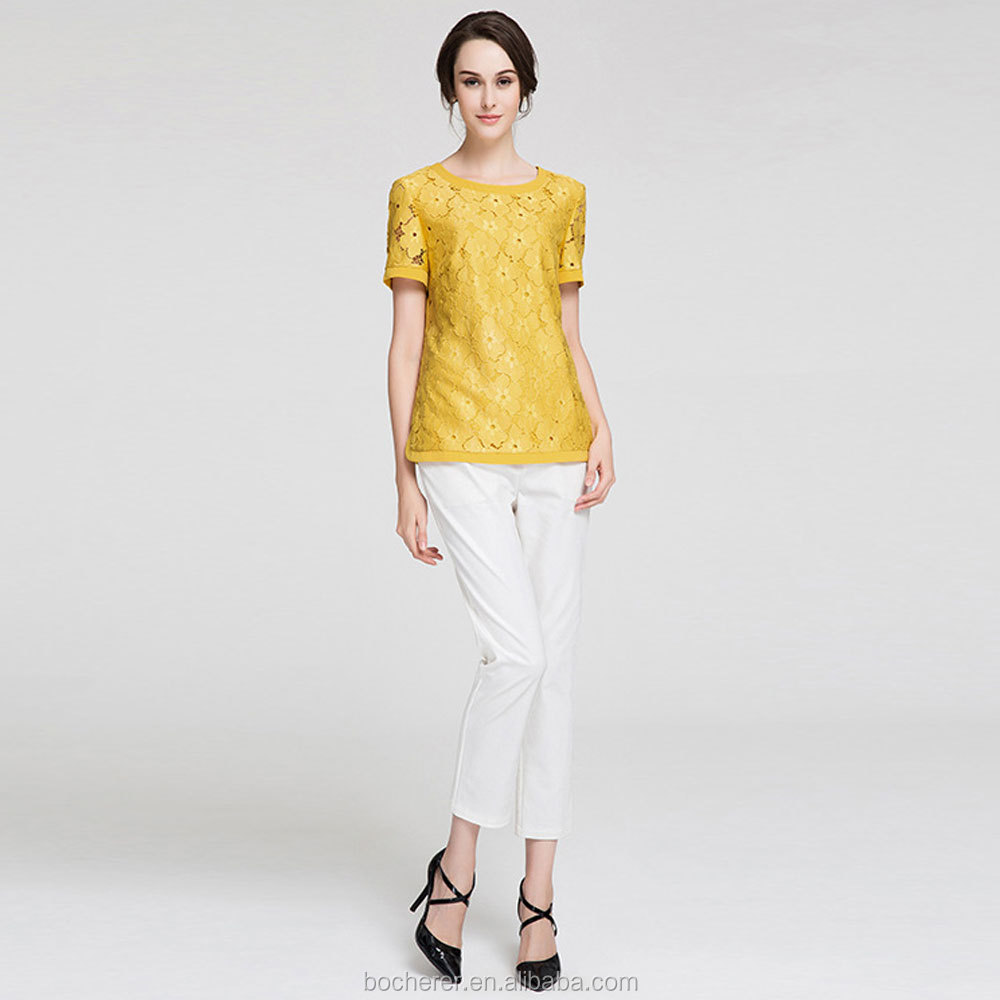 bright color blouse short sleeve chiffon blouse