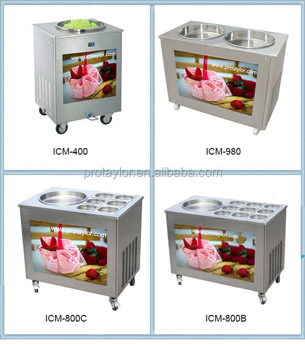 Thai style double pan roll fry ice cream making machine