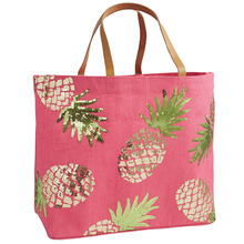 Sequin Tropical Pineapple Tote Beach Bag