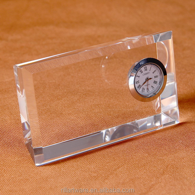 Simple K9 crystal table small clock 3d carve business gift crystal souvenirs