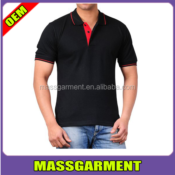 100% Cotton Men Custom Leisure Wear Cheap Black Polo T Shirt