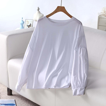 100% cotton OEM white t shirt couple long lantern loose leeve casual style 2017 latest design