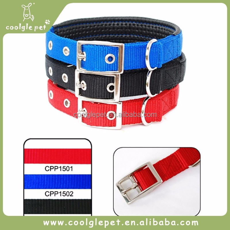 Four Colors Choice Metal Buckles Double Padded Pet Smart Amazing Nylon Dog Collars