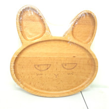 Natural Beech Wooden Rabbit Dish Customized Shape Kids Animal <strong>Plate</strong>