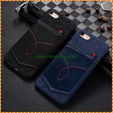 denim Leather pocket Card Slots Skin Hard pc case for iphone 7 plus