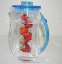 Acrylic type and 2L volume stock,eco-friendly feature fruit infuse jug