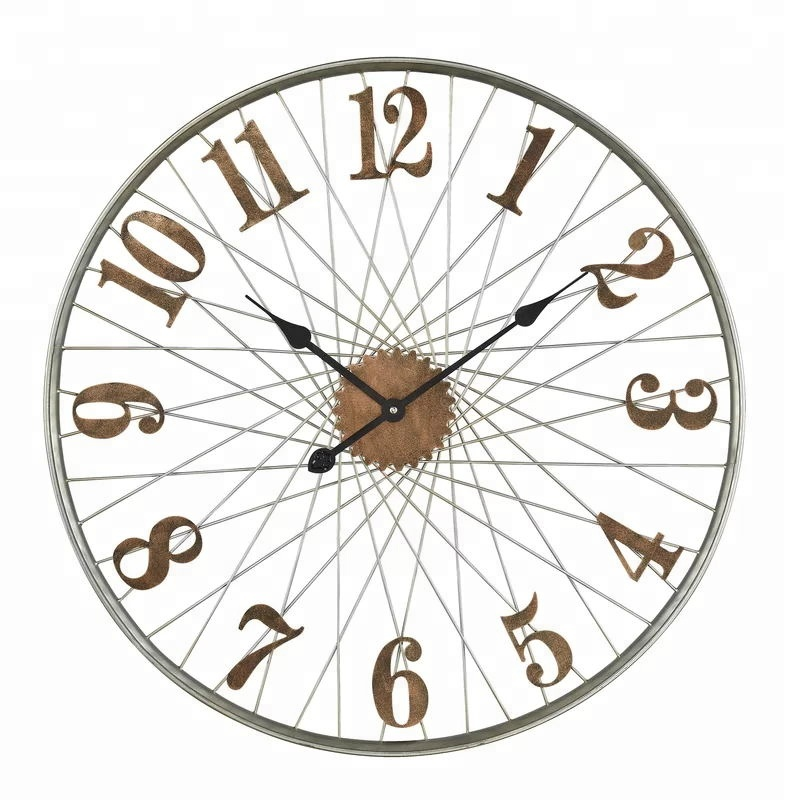 "25"" Oversized metal iron vintage bicycle wheel industrial style wall clock"